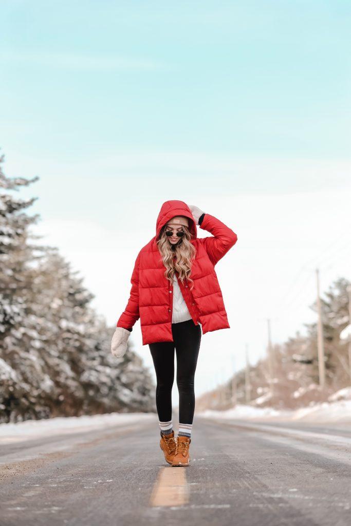 Manteau doudoune rouge